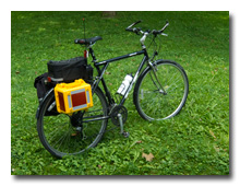 The KX3 Travel Kit on the bicycle -- click to enlarge